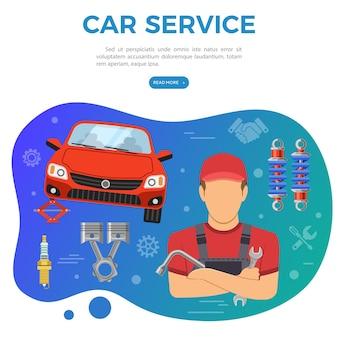 Car service roadside assistance i baner konserwacji samochodu z mechanikiem płaskie ikony i narzędzia. ilustracja wektorowa na białym tle