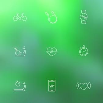 Cardio, trening serca, fitness, ikony linii zdrowia na zielonym tle rozmycia