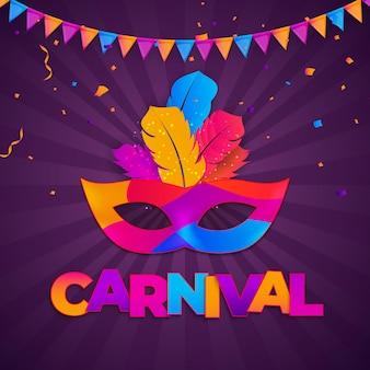 Carnaval background.tradycyjna maska z piórami i konfetti na festiwal
