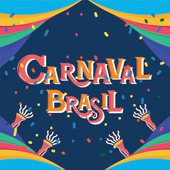 Carnaval brasil świętowania tło z kolorowymi partyjnymi elementami. wydarzenie w brazylia