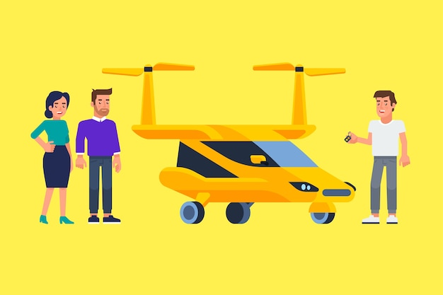 Carpool i car sharing. szczęśliwi ludzie przed samochodem. podróżować samochodem. ilustracja