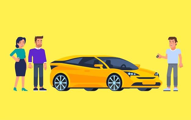 Carpool i car sharing. szczęśliwi ludzie przed samochodem. podróżować samochodem.