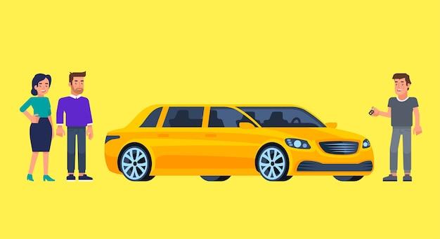 Carpool i car sharing z szczęśliwymi ludźmi przed samochodem