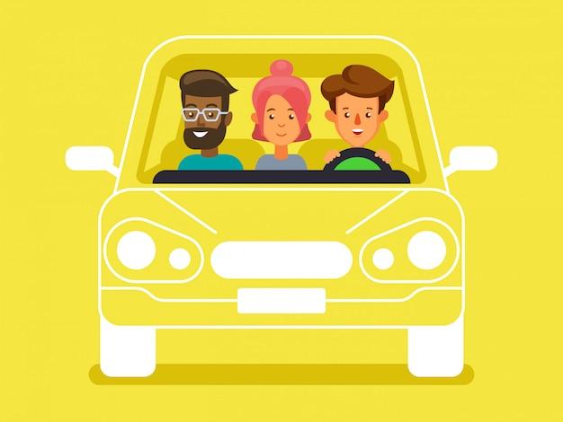 Carpool z postaciami kierowców i pasażerów. zróżnicowana grupa ludzi dzieli samochód, widok z przodu