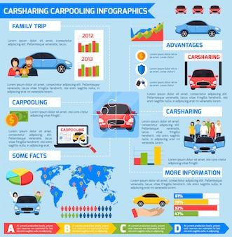Carsharing carpooling infografiki