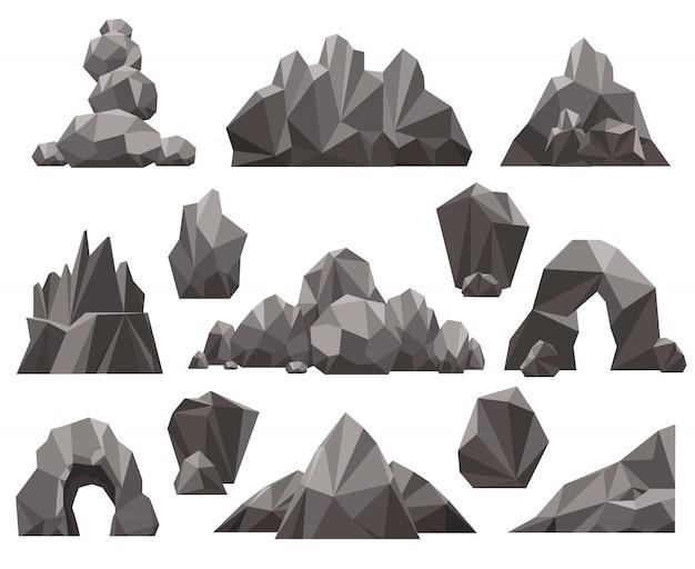 Cartoon 3d zestaw skał i kamieni