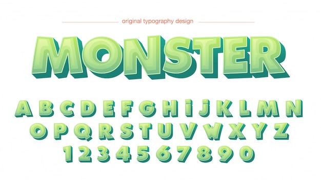 Cartoon 3d zielona typografia