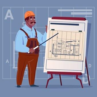Cartoon african american builder