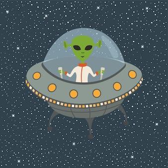 Cartoon alien in flying spodek