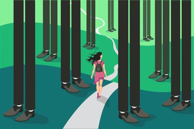 Cartoon backpacker podróży malutka kobieta iść na trudny sposób otoczony streszczenie biznesmen nogi lasu