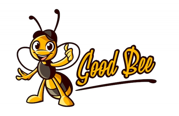 Cartoon bee thumb up character maskotka logo