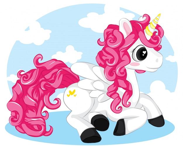 Cartoon biały jednorożec z różowymi włosami, siedząc na tle nieba