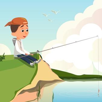Cartoon boy fisher siedzieć bank rzeki trzymać wędkę
