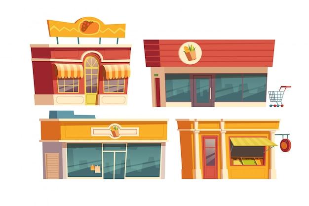 Cartoon budynku restauracji fast food i sklepów