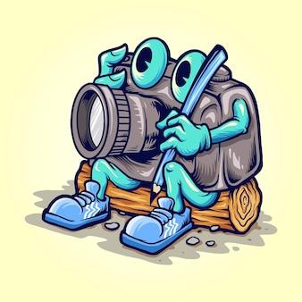 Cartoon camera photography illustrator ilustracje wektorowe do twojej pracy logo, koszulka z towarem maskotka, naklejki i projekty etykiet, plakaty, kartki okolicznościowe reklamujące firmy lub marki.