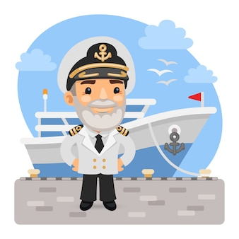 Cartoon captain with ship