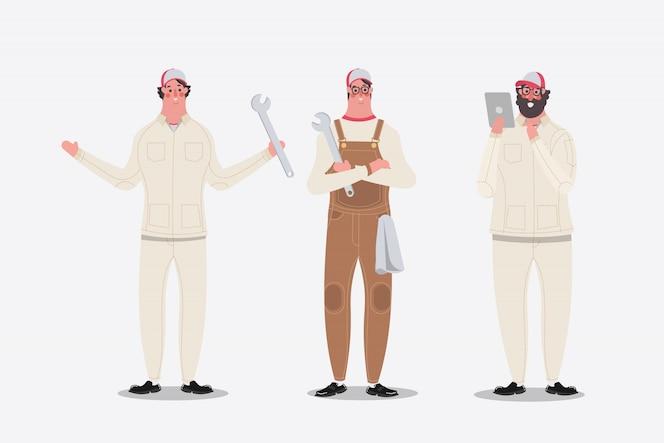 Cartoon charakter projektowania ilustracji. mechanik przedstawiający pozdrowienia i używaną tabletkę