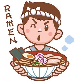 Cartoon chef japoński makaron prezentujący jedzenie