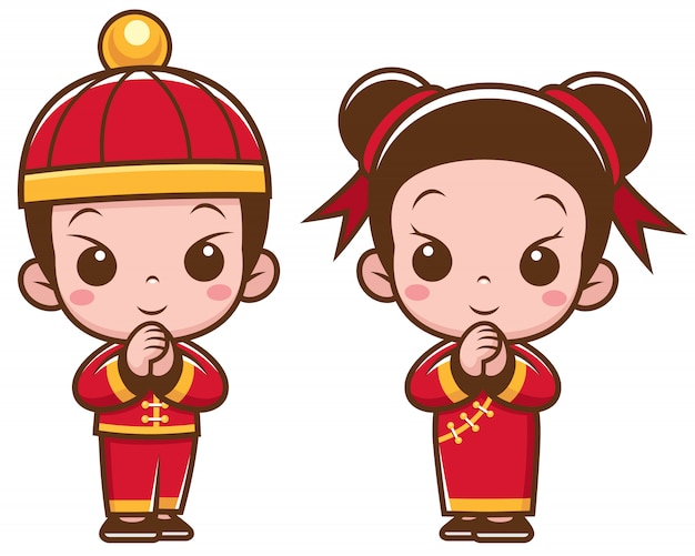 Cartoon chinese kids