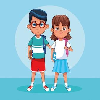 Cartoon chłopiec i dziewczynka stoi