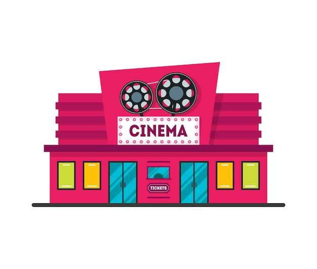 Cartoon cinema building nowoczesna fasada zewnętrzna architektura miejska płaska konstrukcja stylu