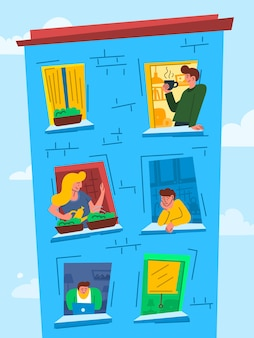 Cartoon color characters people in windows