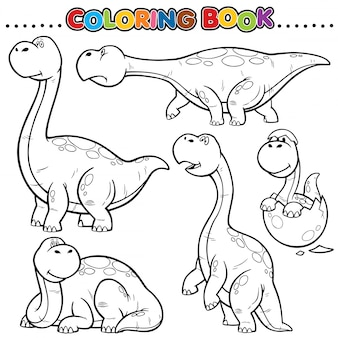 Cartoon coloring book - dinosaurs character