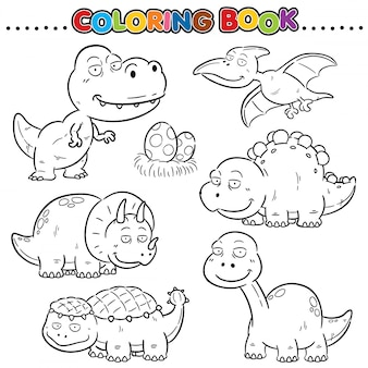 Cartoon coloring book - dinosaurs character