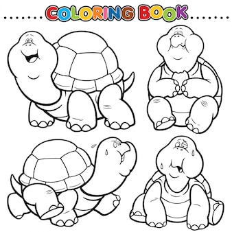 Cartoon coloring book - turtle