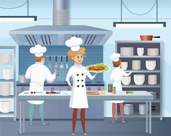 Cartoon Cook Holding Ready Dish w ręku