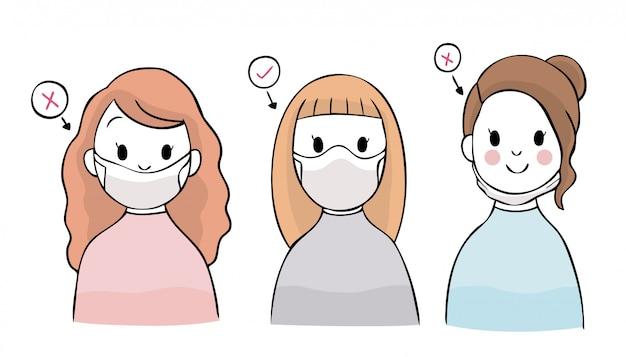 Cartoon coronavirus, covid-19, jak nosić odpowiednią maskę