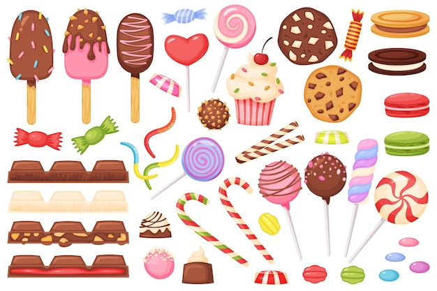 Cartoon cukierki słodycze desery lizaki czekoladowe cukierki ciastko makaronik lody galaretka wektor zestaw