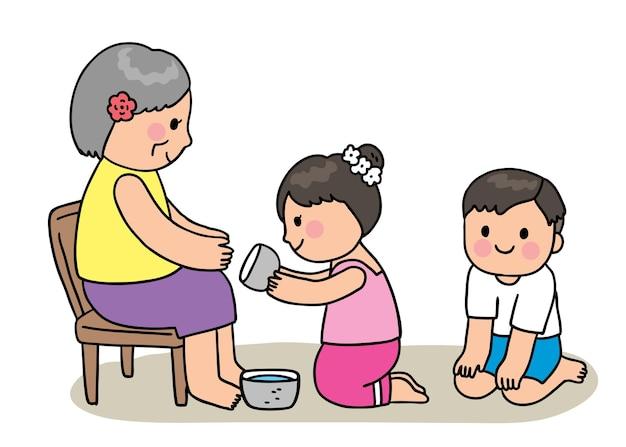 Cartoon cut festiwal songkran tajlandia, kobieta oleder i dziecinny styl tajski.