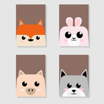 Cartoon cute baby animal icon icon set card