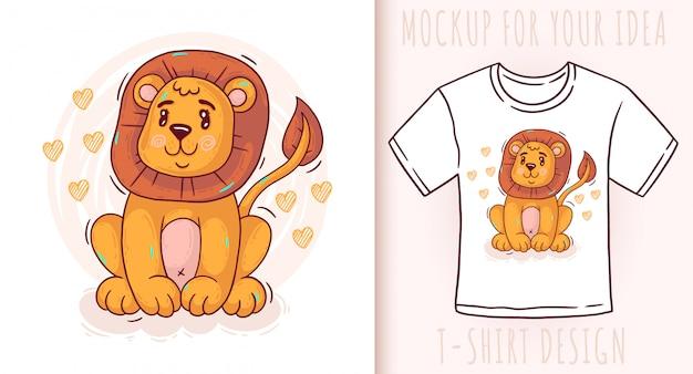Cartoon cute baby lion.