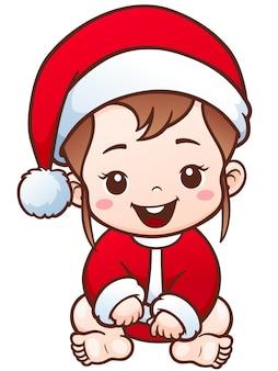 Cartoon cute baby santa wesołych świąt koncepcji