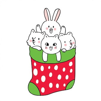 Cartoon cute christmas, animals in socks.