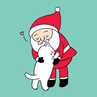 Cartoon cute christmas santa claus tulenie kota.