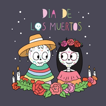 Cartoon cute day of the dead