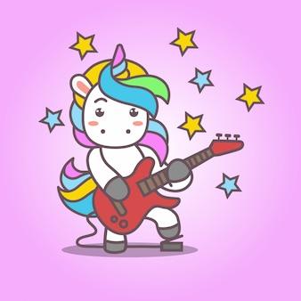 Cartoon_cute kawaii unicorn, gra na gitarze