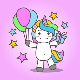 Cartoon_cute kawaii unicorn przynieś balon i prezent