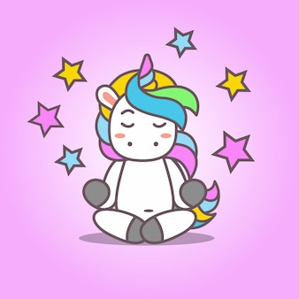 Cartoon_cute kawaii unicorn yoga
