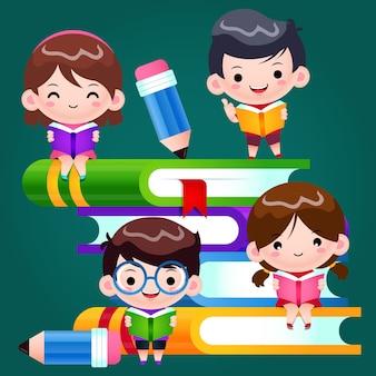 Cartoon cute kids school czytanie i uczenie się na dużych książkach