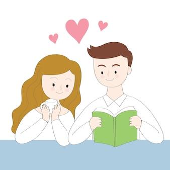 Cartoon cute kobieta picia kawy i człowiek czyta
