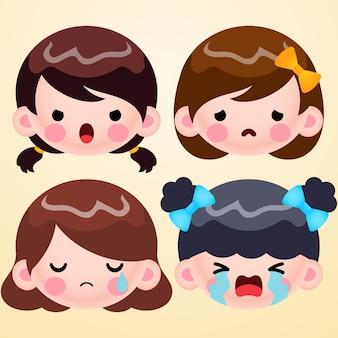 Cartoon cute little girl head avatar twarz zestaw negatywnych emocji