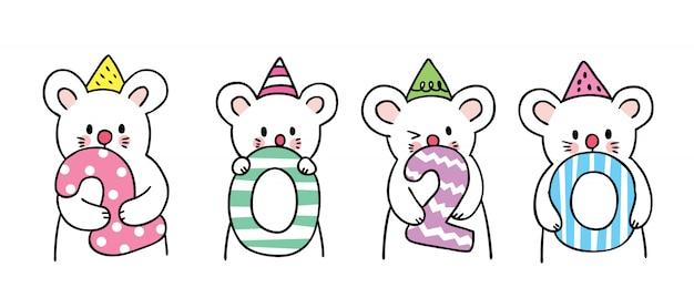 Cartoon cute nowy rok myszy.