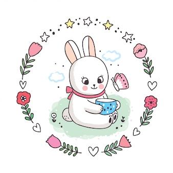 Cartoon cute springtime, biały królik i filiżanka kawy i motyl