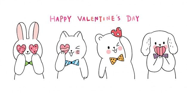 Cartoon cute walentynki kot i królik i pies i niedźwiedź i serca