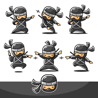 Cartoon czarny mały zestaw ninja z sześcioma nowymi pozami gotowymi do ataku strzałką