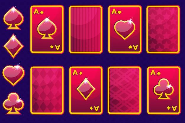 Cartoon czerwony cztery karty do gry w pokera i odwrocie karty. elementy gui